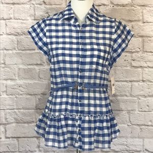 Free People Blue gingham crocheted back top size M